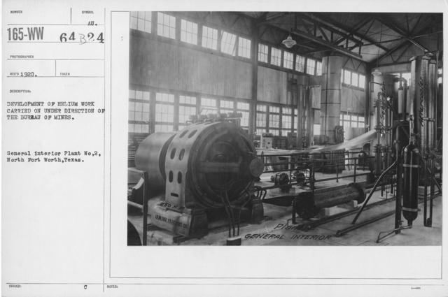 Balloons - Helium Plants - Development of helium work carried on under direction of the Bureau of Mines. General interior Plant No. 2, North Fort Worth, Texas