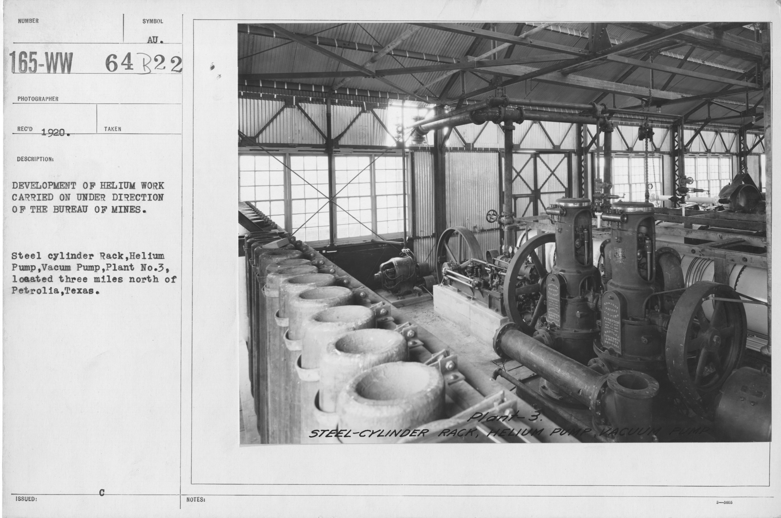 Balloons - Helium Plants - Development of helium work carried on under direction of the Bureau of Mines. Steel cylinder Rack, Helium Pump, Vaccuum Pump, Plant No. 3, located three miles north of Petrolia, Texas