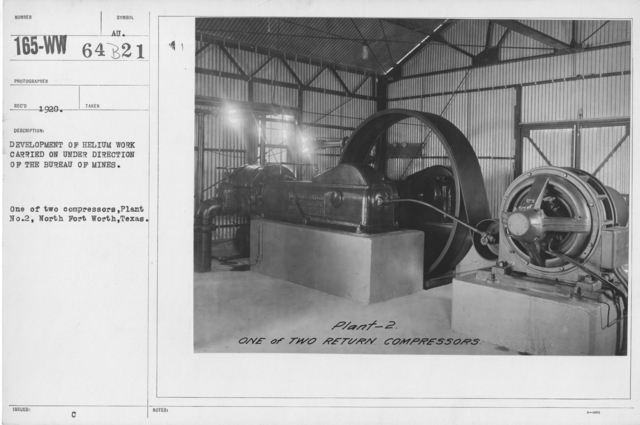 Balloons - Helium Plants - Development of helium work carried on under direction of the Bureau of Mines. One of two compressors, Plant No. 2, North Fort Worth, Texas