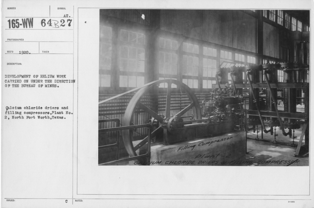 Balloons - Helium Plants - Development of helium work carried on under the direction of the Bureau of Mines. Calcium chloride driers and filling compressors, Plant No. 2, North Fort Worth, Texas