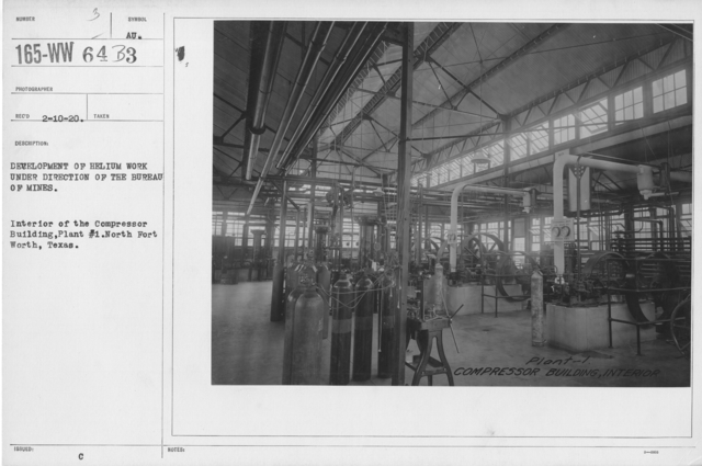 Balloons - Helium Plants - Development of helium work under the direction of the Bureau of Mines. Interior of the Compressor Building, Plant #1. North Fort Worth, Texas