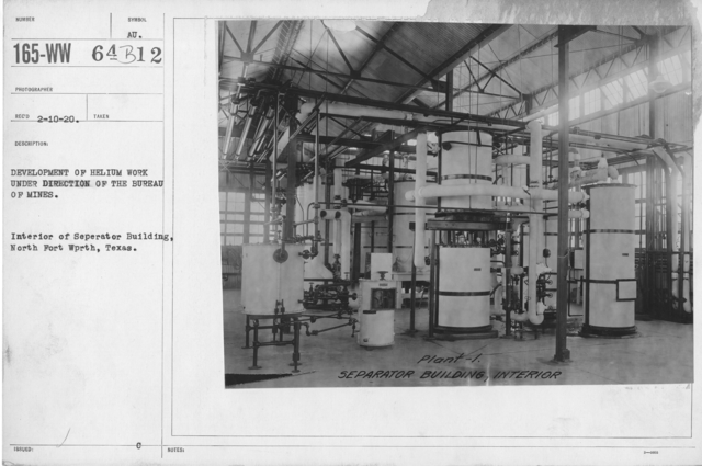 Balloons - Helium Plants - Development of helium work under the direction of the Bureau of Mines. Interior of Seperator Building, North Fort Worth, Texas