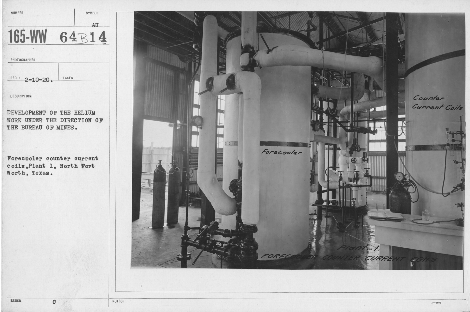 Balloons - Helium Plants - Development of the helium work under the direction of the Bureau of Mines. Forecooler counter current coils, Plant 1, North Fort Worth, Texas