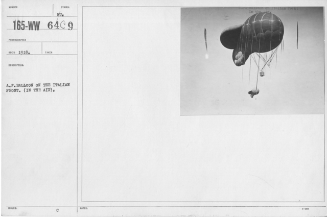 Balloons - In the Theatre of Operations - A.P. Balloon on the Italian Front. (In the Air)