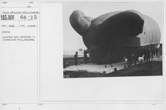 Balloons - M - Goodyear M-51 returning to hangar. Fort Sill, Oklahoma