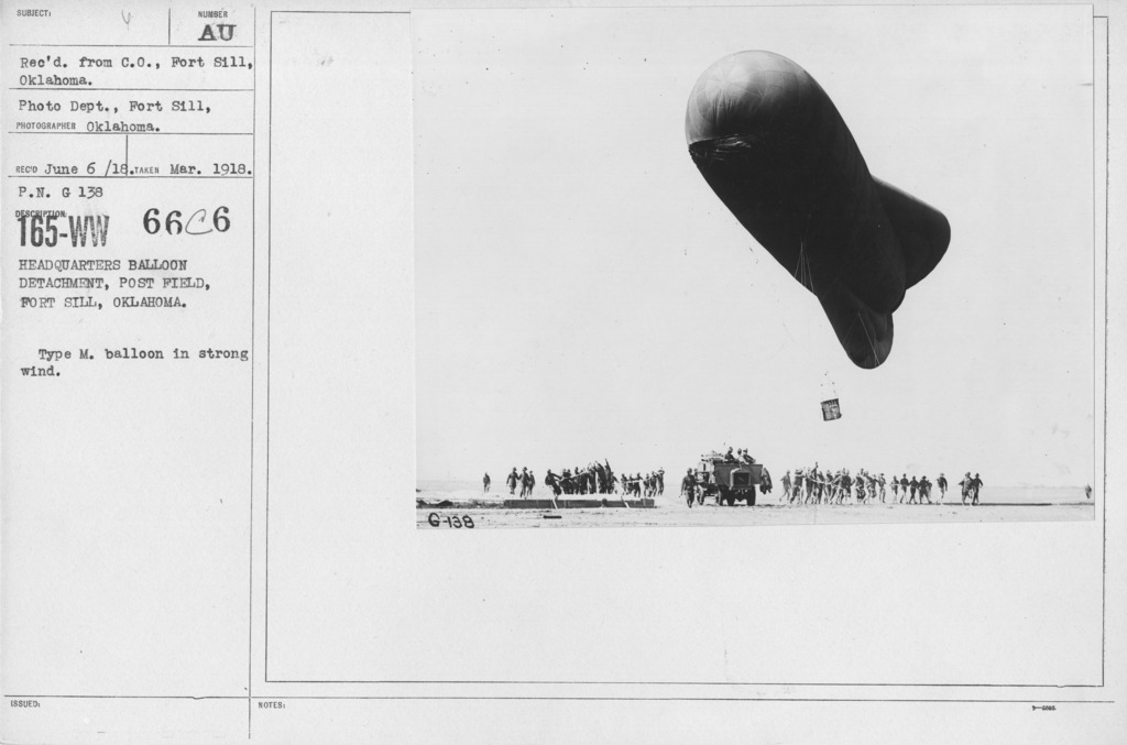Balloons - M - Headquarters Balloon Detachment, Post Field, Fort Sill, Oklahoma. Type M. balloon in strong wind