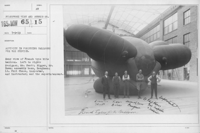 Balloons - Manufacturing - General - Activity in producing balloons for war service. Rear view of French type kite balloon. Left to right: Designer, Mr. Scott; Rigger, Mr. Bows; assembly boss, Boughmon; Lt. Phil Chase, inspector, and instructor; and the superintendent