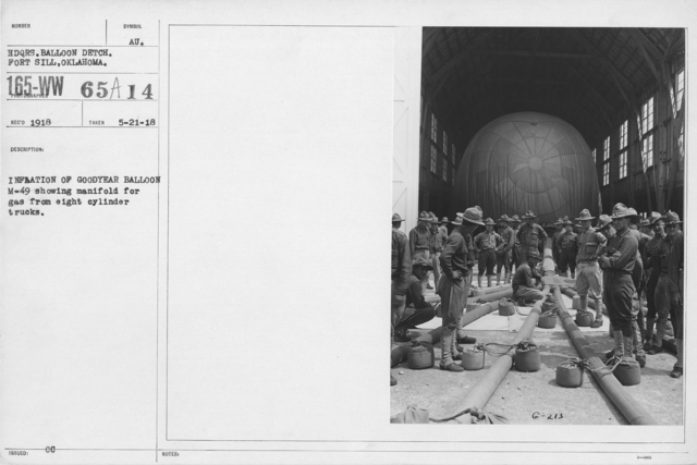 Balloons - Manufacturing - General - Inflation of Goodyear Balloon M-49 showing manifold for gas from eighty cylinder trucks
