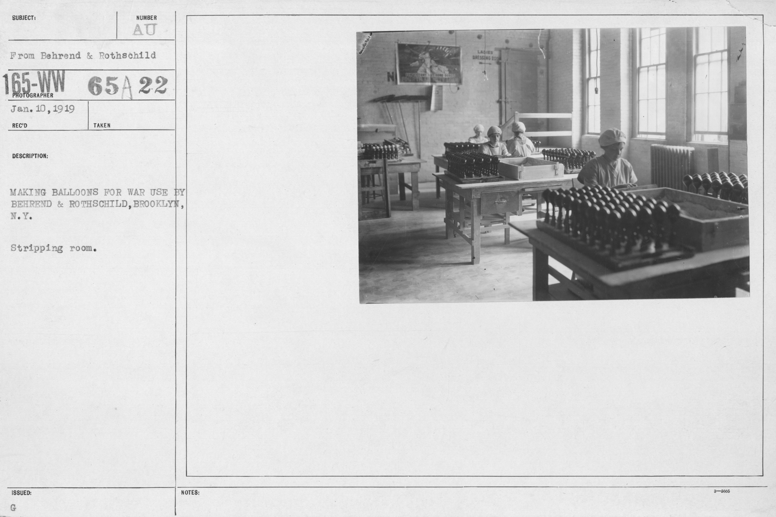 Balloons - Manufacturing - General - Making balloons for war use by Behrend & Rothschild, Brooklyn, N.Y. Stripping room