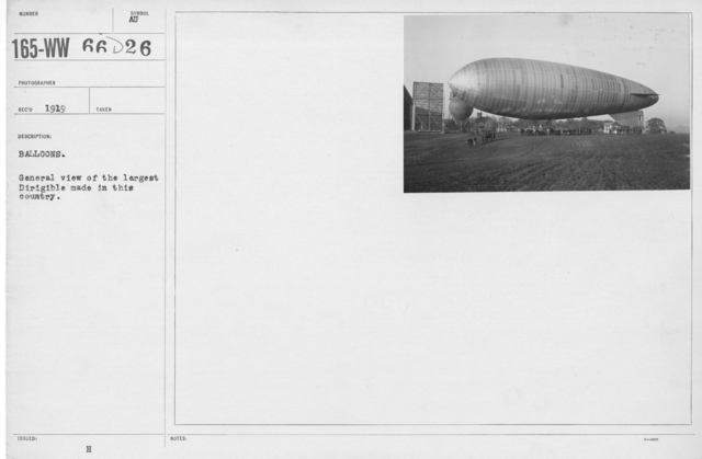 Balloons - Miscellaneous - Balloons. General view of the largeste Dirigible made in this country