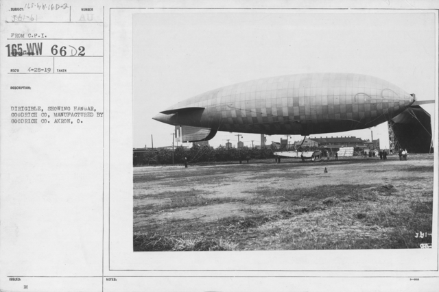 Balloons - Miscellaneous - Dirigible, showing hangar, Goodrich Co., manufactured by Goodrich Co. Akron, O