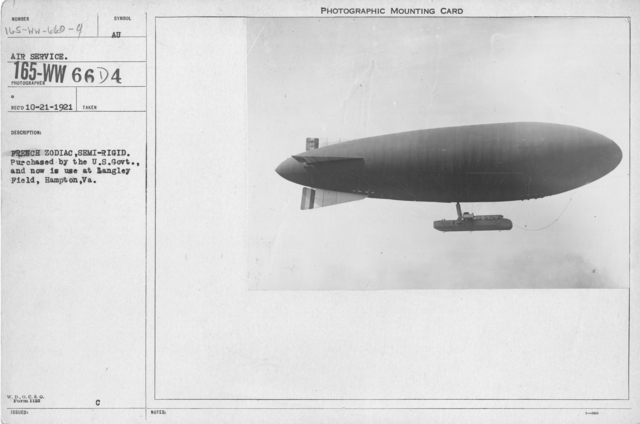 Balloons - Miscellaneous - French Zodiac, semi-rigid. Purchased by the U.S. Govt., and now is used at Langley Field, Hampton, VA