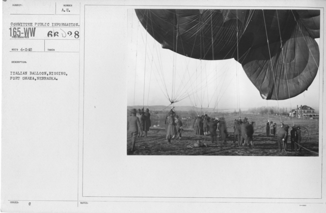 Balloons - Miscellaneous - Italian Balloon, rigging, Fort Omaha, Nebraska