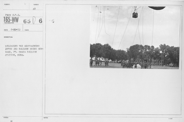 Balloons - Miscellaneous Operations - Releasing the restraining ropes and balloon going skyward, Ft. Omaha Balloon Station, Nebr