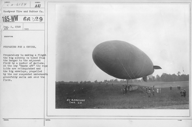 """Balloons - Miscellaneous - Preparing for a cruise. Preparatory to making a flight the big airship is towed from the hangar to the adjacent field by a number of sailors. At the cry """"Hands off"""" the rope holds are relinquished and the big envelope, propelled by the car suspended underneath gracefully sails out over the field"""