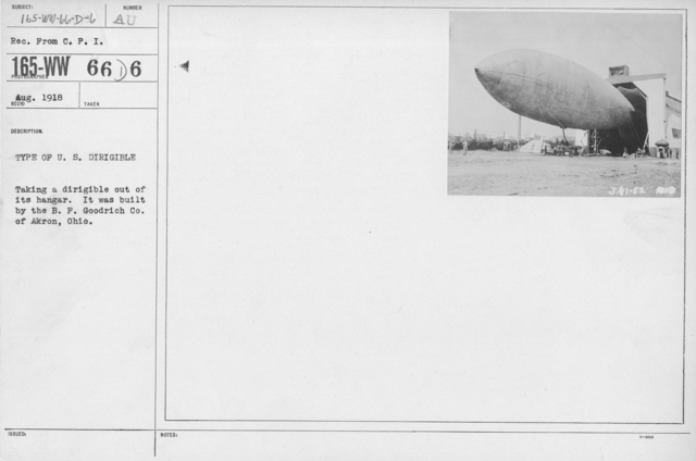 Balloons - Miscellaneous - Type of U.S. Dirigible. Taking a dirigible out of its hangar. It was built by the B.F. Goodrich Co. of Akron, Ohio