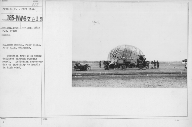 Balloons - R - Balloon School, Post Field, Fort Sill, Oklahoma. Goodrich type R 72 being deflated through ripping panel. Delfation necessary due to inabiltiy to handle in high wind
