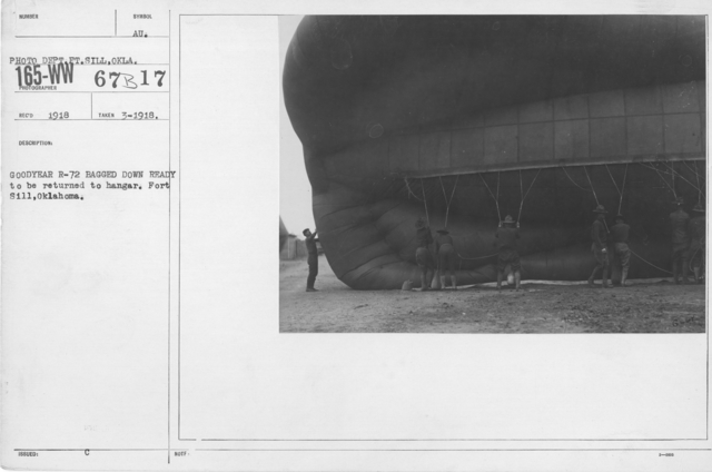 Balloons - R - Goodyear R-72 bagged down ready to be returned to hangar. Fort Sill, Oklahoma