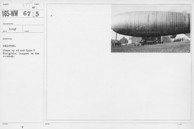 Balloons - U - Balloons. Close up of new Type U Dirigible, largest in the country