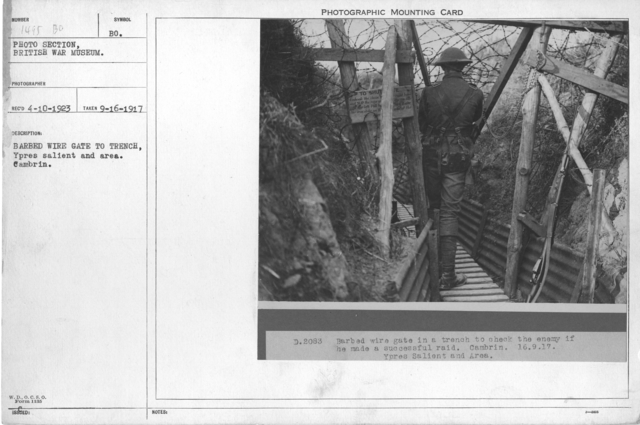 Barbed Wire Gate to Trench, Ypres Salient and Area, Cambrin