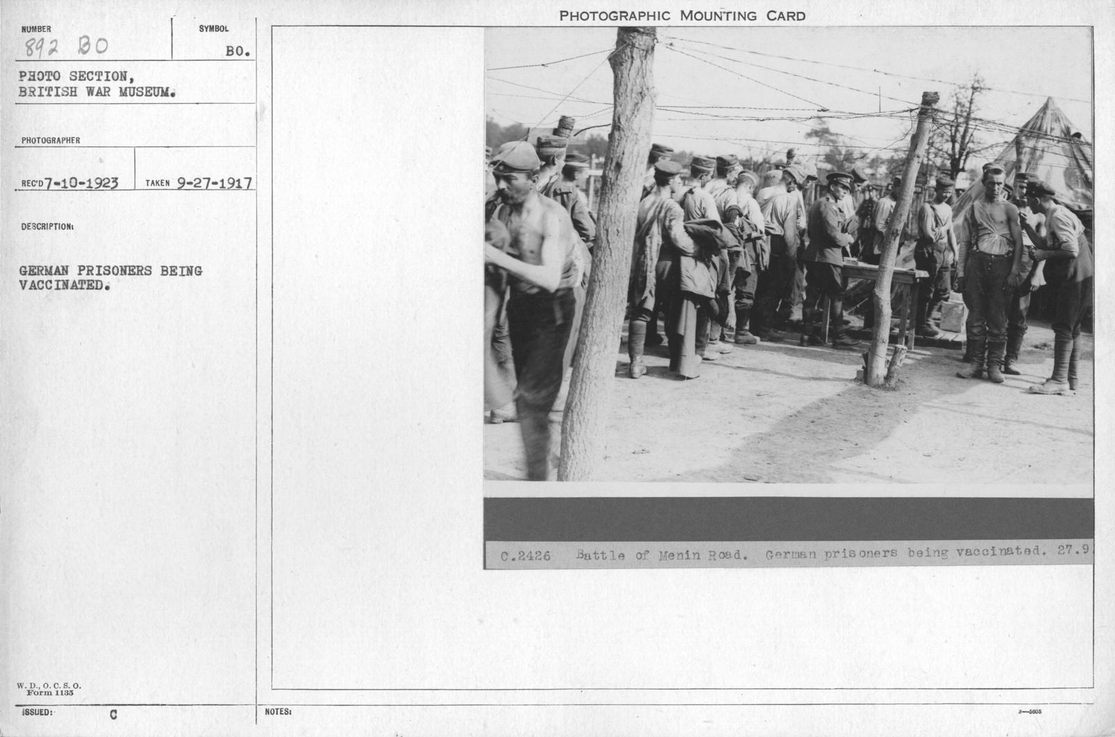 Battle of Menin Road. German prisoners being vaccinated. 9-27-1917