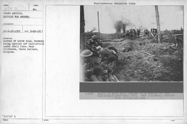 Battle of Menin Road. Wounded being carried off battlefield under shell fire. Near Zillebeke, Ypres Salient, Belgium. 9-20-1917