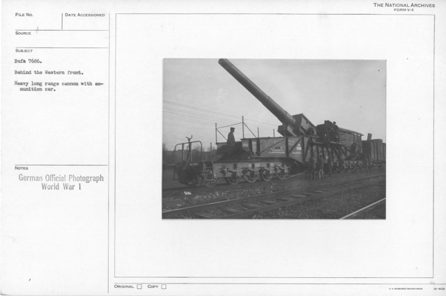 Behind the Western front. Heavy long range cannon with ammunition car