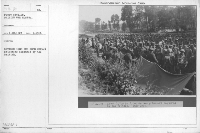 Between 1700 and 2000 German prisoners captured by the British