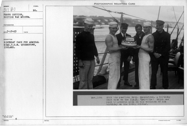 Birthday cake for Admiral Sims, U.S.N. Queenstown, Ireland