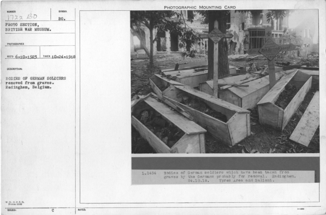 Bodies of German soldiers removed from graves. Radinghem, Belgium