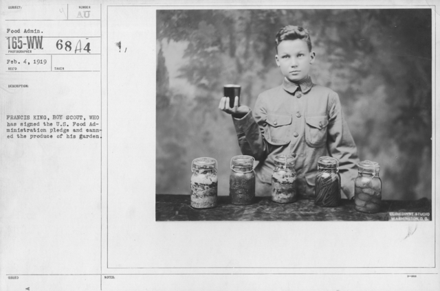 Boy's Activities - Agriculture - Francis King, Boy Scout, who has signed the U.S. Food Administration pledge and canned the produce of his garden