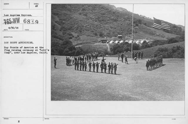 "Boy's Activities - Drills - Boy Scout Activities. Boy Scouts of America at the flag raising ceremony at ""Lett's Camp,"" near Los Angeles, Calif"