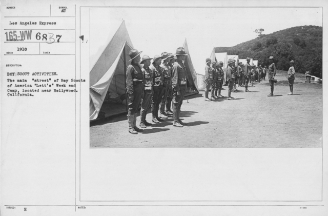 """Boy's Activities - Drills - Boy Scout Activities. The main """"street"""" of Boy Scouts of America """"Lett's"""" Week and Camp, located near Hollywood, California"""