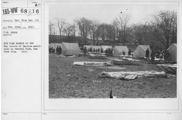 Boy's Activities - Drills - New York Branch of the Boy Scouts of America mobilized in Central Park, New York City. 1917