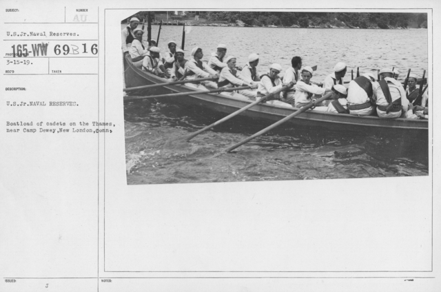 Boy's Activities - Junior Naval Reserve - Camp Dewey, Conn. - U.S. Jr. Naval Reserves. Boatload of cadets on the Thames, near Camp Dewey, New London, Conn