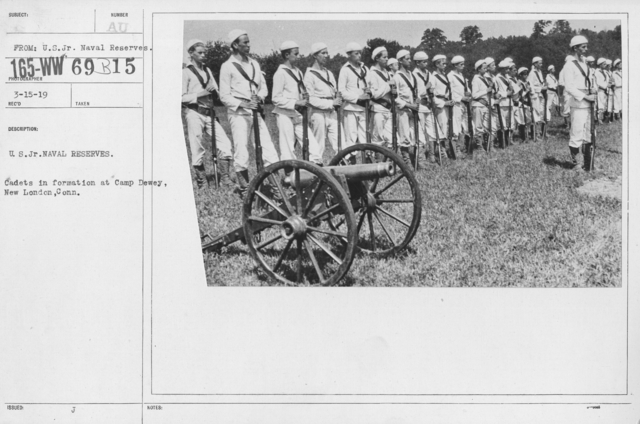 Boy's Activities - Junior Naval Reserve - Camp Dewey, Conn. - U.S. Jr. Naval Reserves. Cadets in formation at Camp Dewey, New London, Conn