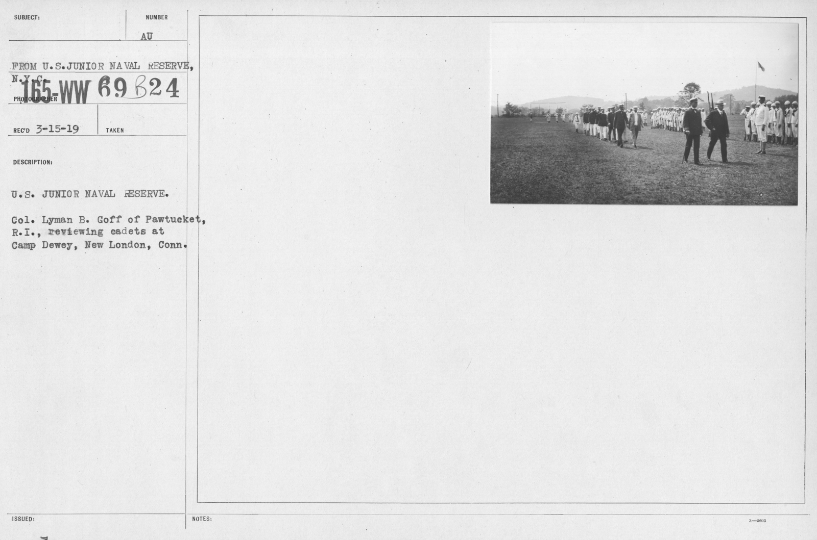 Boy's Activities - Junior Naval Reserve - Camp Dewey, Conn. - U.S. Junior Naval Reserve. Col. Lyman B. Goff of Pawtucket, R.I., reviewing cadets at Camp Dewey, New London, Conn