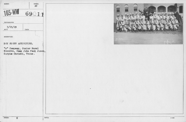 "Boy's Activities - Junior Naval Reserve - Other Camps - Boy Scout Activities. ""A"" Company, Junior Naval Reserve, Camp John Paul Jones, Corpus Christi, Texas"