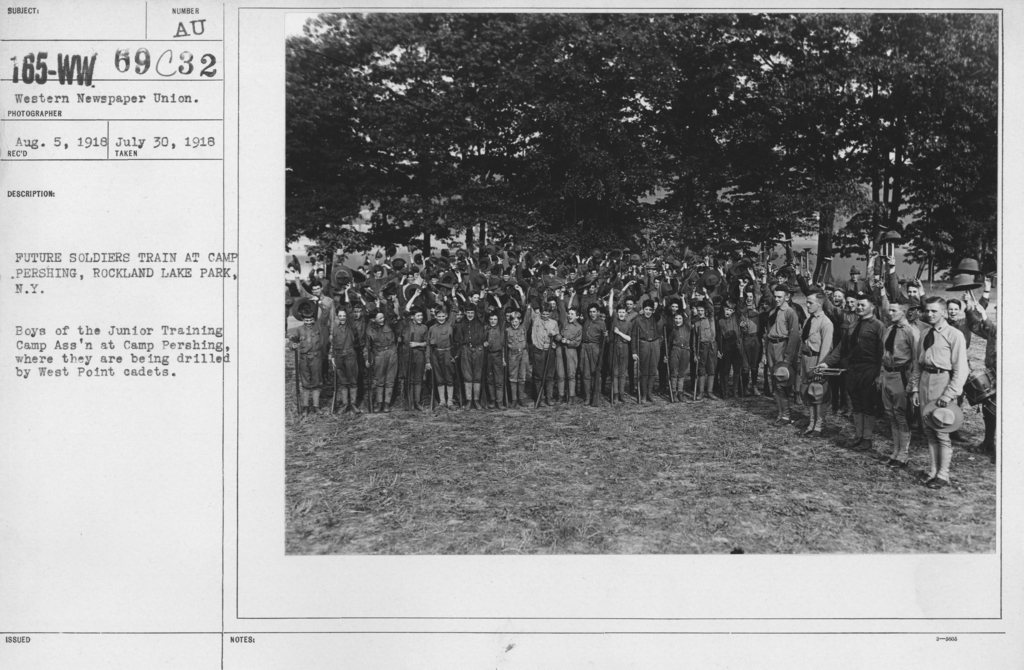 Boy's Activities - Junior Naval Reserve - Other Camps - Future soldiers train at Camp Pershing, Rockland Lake Park, N.Y. Boys of the Junior Training Camp Association at Camp Pershing where they are being drilled by West Point cadets