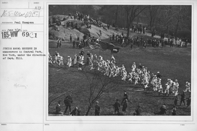 Boy's Activities - Junior Naval Reserve - Other Camps - Junior Naval Reserve in manuevers in Central Park, New York, under the direction of Capt. Till