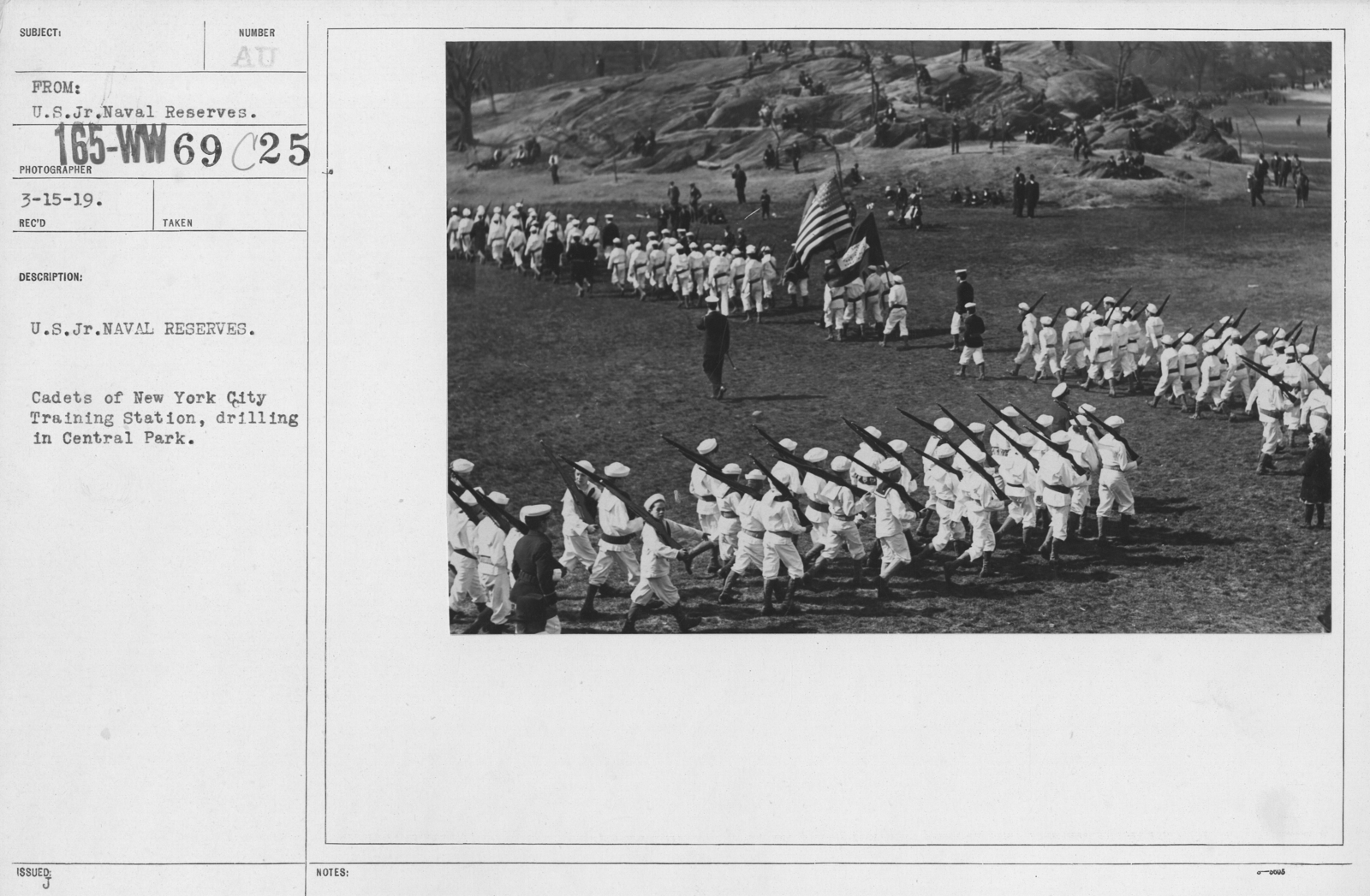 Boy's Activities - Junior Naval Reserve - Other Camps - U.S. Jr. Naval Reserves. Cadets of New York City Training Station, drilling in Central Park