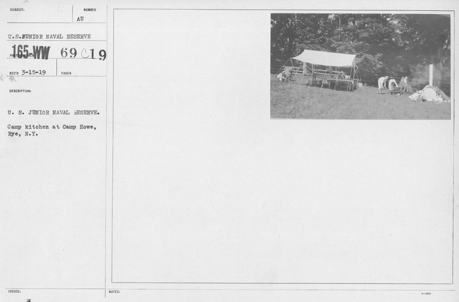 Boy's Activities - Junior Naval Reserve - Other Camps - U.S. Junior Naval Reserve. Camp Kitchen at Camp Howe, Rye, N.Y