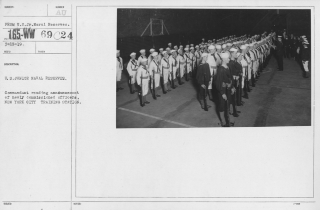 Boy's Activities - Junior Naval Reserve - Other Camps - U.S. Junior Naval Reserves. Commandant reading announcement of newly commissioned officers, New York City Training Station