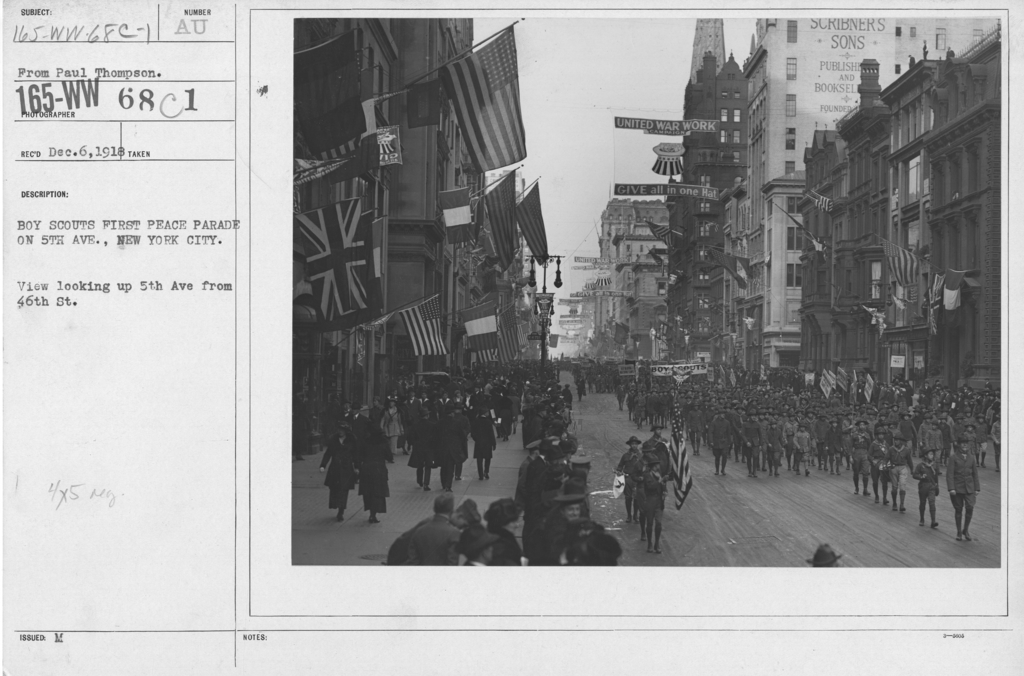 Boy's Activities - Parades - Boy Scouts First Peace Parade on 5th Ave., New York City. View looking up 5th Ave from 46th St