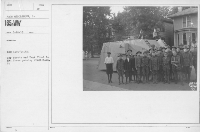 Boy's Activities - Parades - War Activities. Boy Scouts and Tank Float in Red Cross Parade, Middletown, O