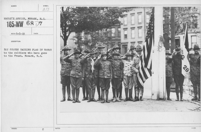 Boy's Activities - Patriotism - Boy Scouts raising flag in honor to the soldiers who have gone to the front. Newark, N.J