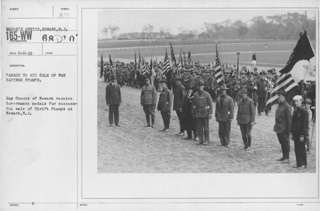 Boy's Activities - Patriotism - Parade to aid sale of war savings stamps. Boy Scouts of Newark receive Government medals for successful sale of Thrift Stamps at Newark, N.J