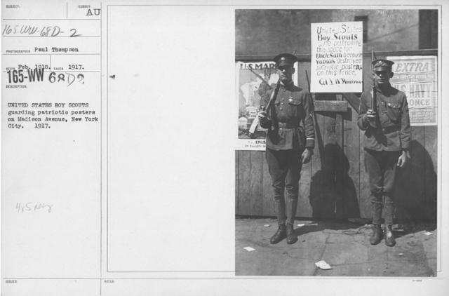 Boy's Activities - Patriotism - United States Boy Scouts guarding patriotic posters on Madison Avenue, New York City. 1917