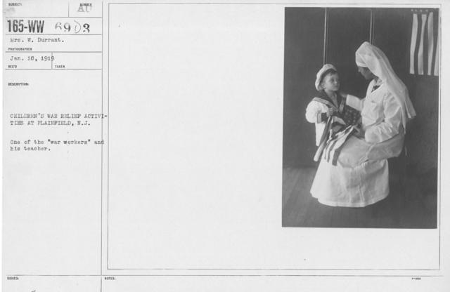 "Boy's Activities - Personnel - Children's War Relief Activities at Plainfield, N.J. One of the ""war workers"" and his teacher"