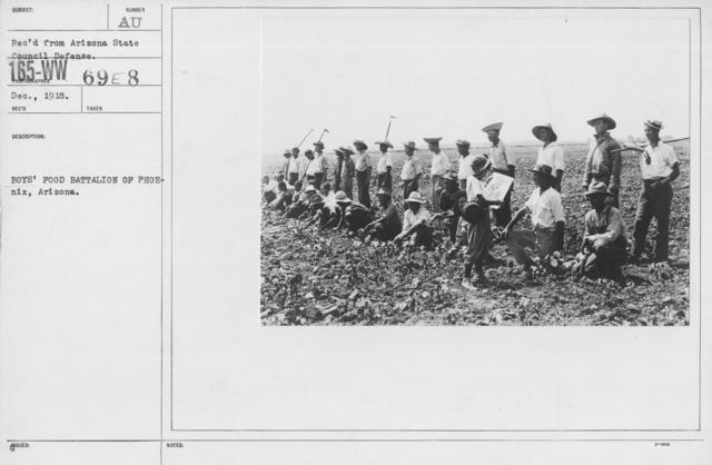 Boy's Activities - U.S. Working Boy's Reserve - Boys' Food Battalion of Phoenix, Arizona